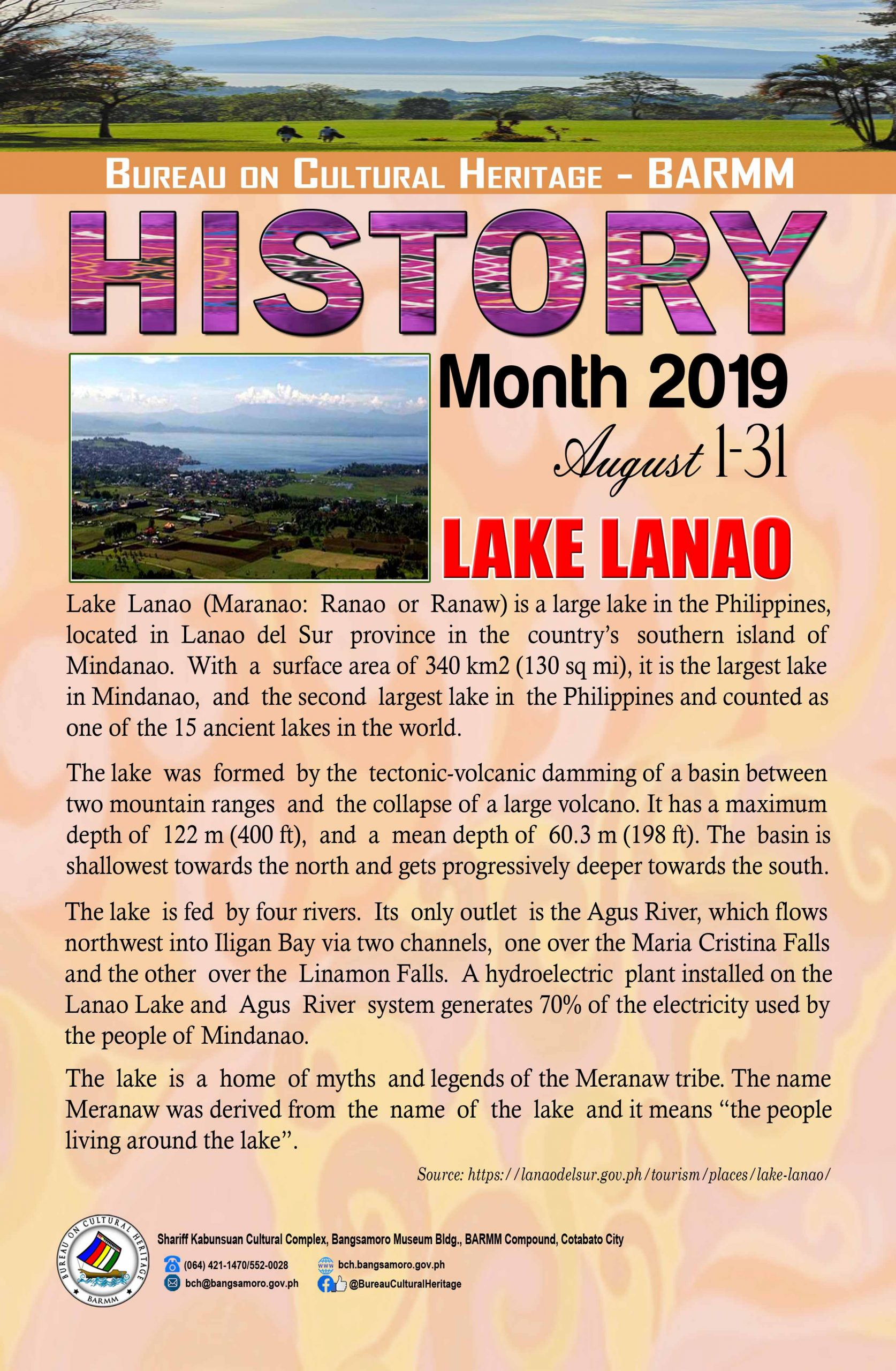 History Month August 2019 LDS Lake Lanao