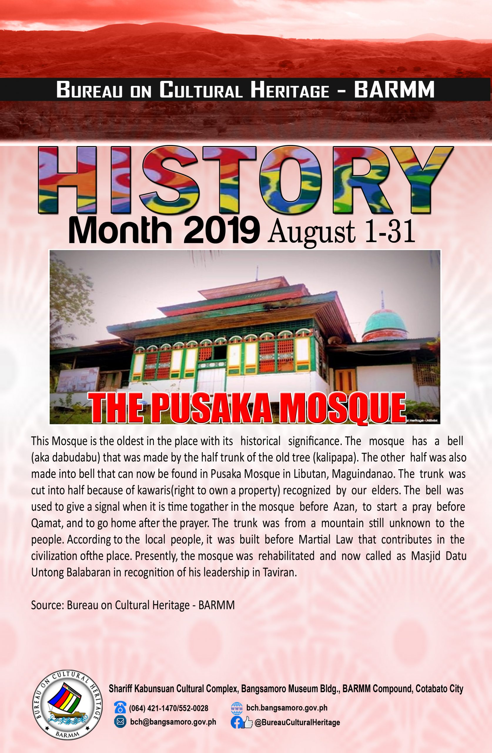History Month August 2019 Pusaka mosque