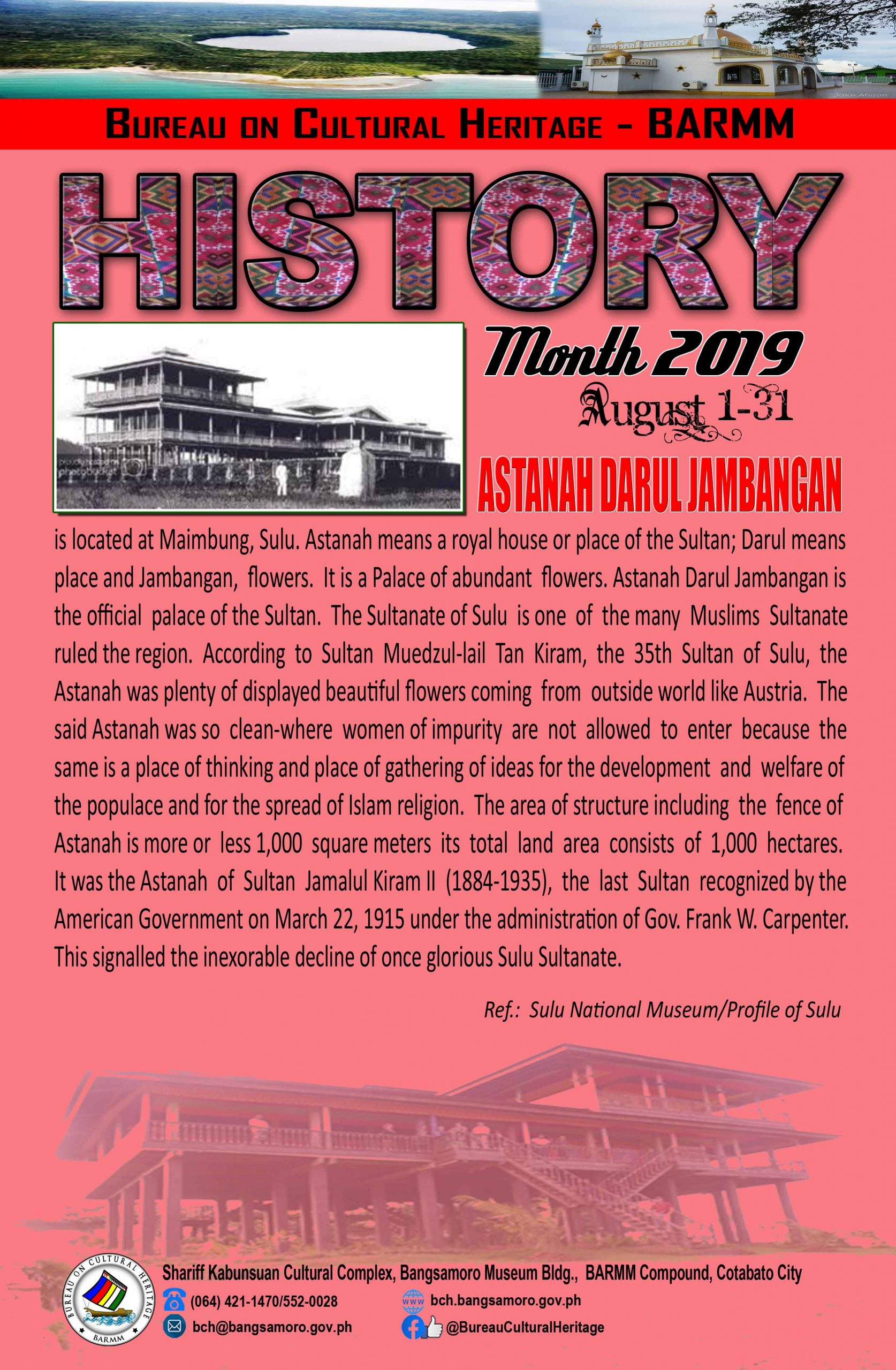 History Month August 2019 Sulu Astanah