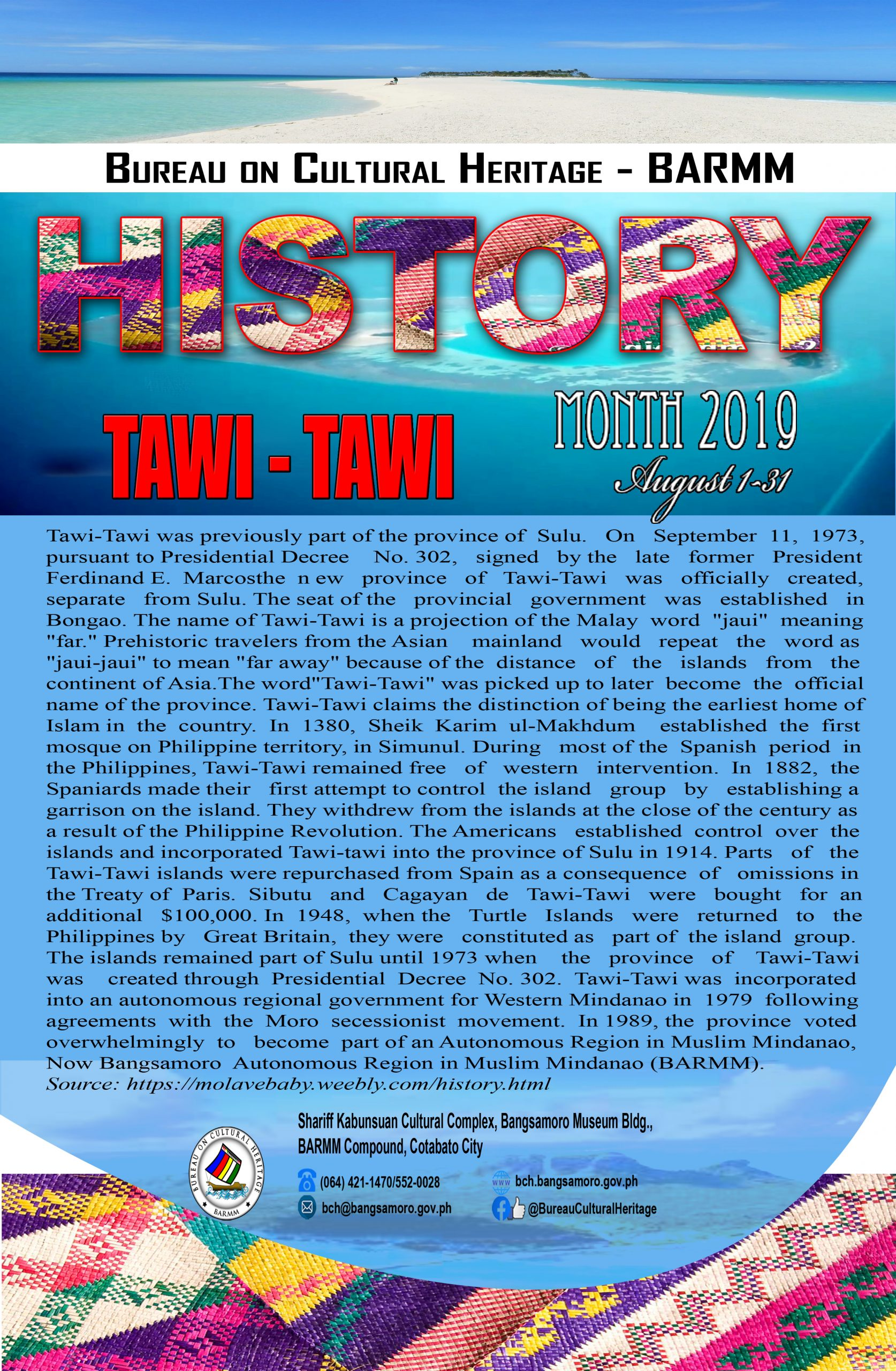 History Month August 2019 Tawi Tawi